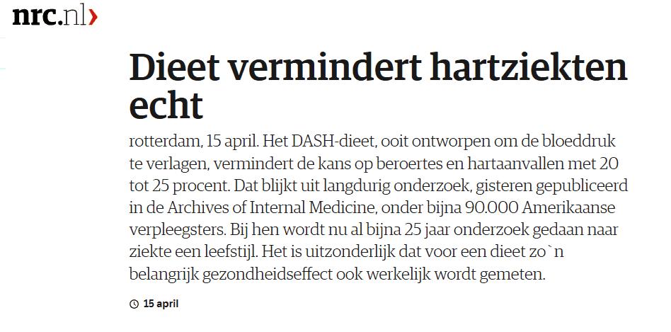 Dash dieet volgens NRC Handelsblad